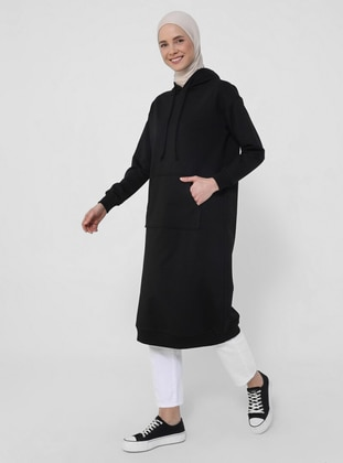 Kangaroo Pocket Sweatshirt with Hood - Black - Basic