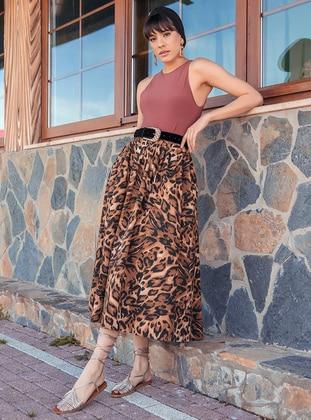 Unlined - Brown - Evening Skirt - BERRENstudio