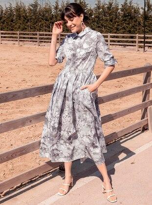 White - Gray - Multi - Unlined - Point Collar - Muslim Evening Dress