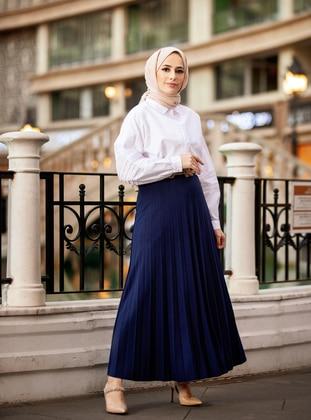 Navy Blue - Unlined - Skirt -  Woman