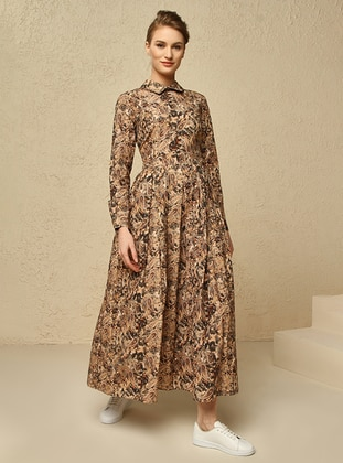Brown - Shawl - Unlined - Point Collar - Muslim Evening Dress