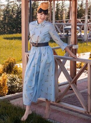 Baby Blue - Multi - Unlined - Point Collar - Muslim Evening Dress