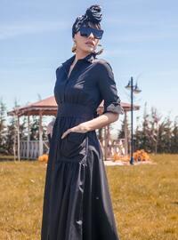 Black - Unlined - Point Collar - Muslim Evening Dress