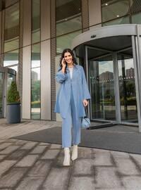 Oversize Jacket&Trousers Evening Dress Set - Ice Blue