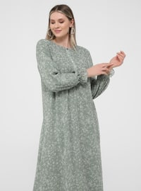 Beige - Olive Green - Green - Multi - Fully Lined - Crew neck - Plus Size Dress