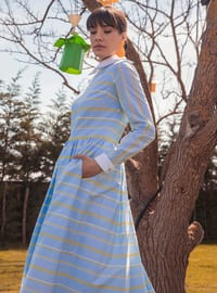 Ice Blue - Stripe - Unlined - Point Collar - Modest Evening Dress