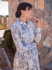 White - Blue - Floral - Stripe - Unlined - Point Collar - Modest Evening Dress