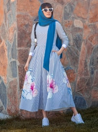 White - Blue - Floral - Stripe - Unlined - Point Collar - Muslim Evening Dress