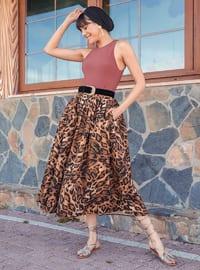 Unlined - Brown - Evening Skirt