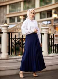 Pleated Full Length Skirt 95 cm - Navy Blue - Woman