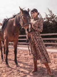 Brown - Shawl - Unlined - Point Collar - Muslim Evening Dress