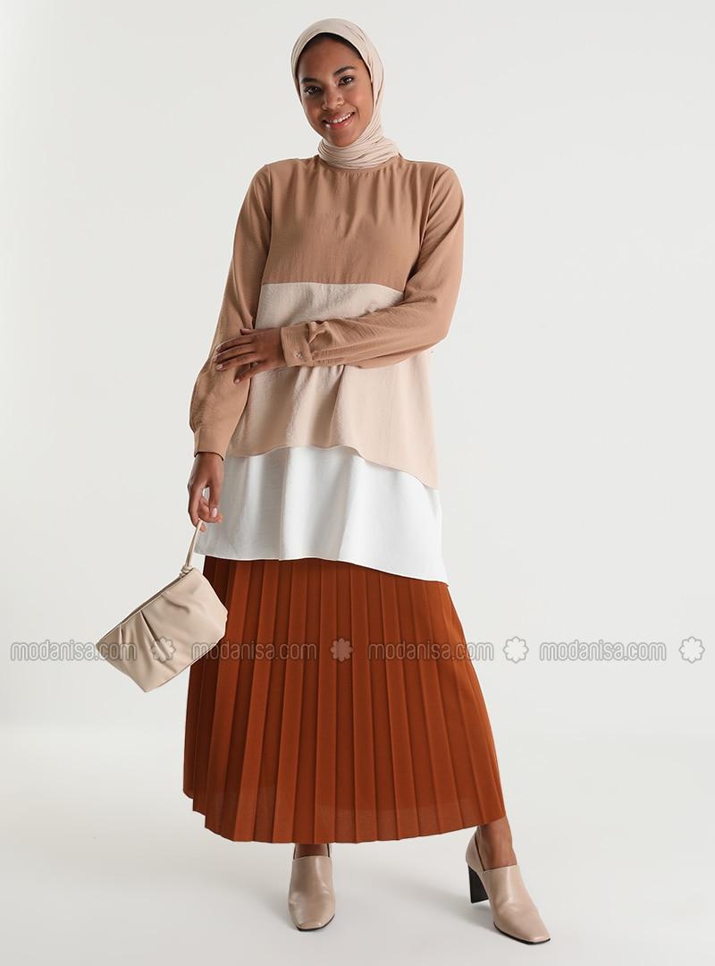 Pleated Full Length Skirt 95 cm - Tarcın - Woman