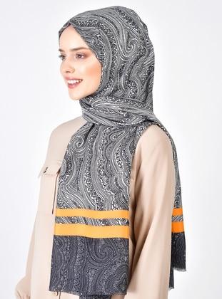 Black - Orange - Printed - Shawl