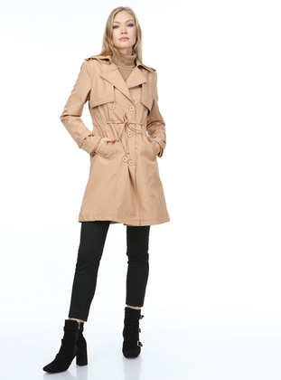 Camel - Fully Lined - Trench Coat