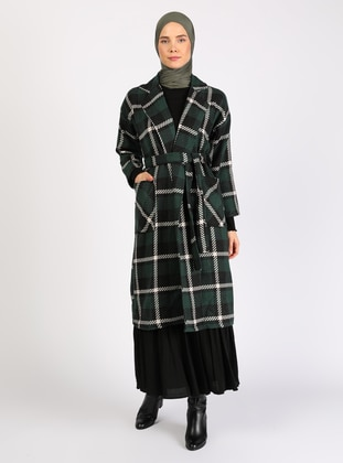 White - Green - Plaid - Unlined - Coat