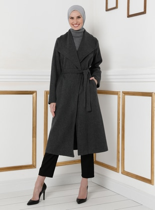 Anthracite - Unlined - V neck Collar - Coat