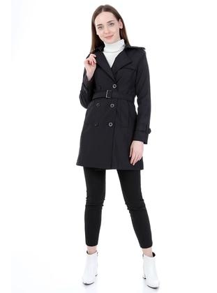 Black - Fully Lined - Shawl Collar - Trench Coat - Jamila