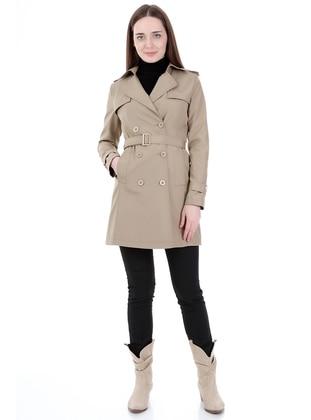 Mink - Fully Lined - Shawl Collar - Trench Coat - Jamila
