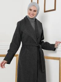 Anthracite - Unlined - V neck Collar - Coat