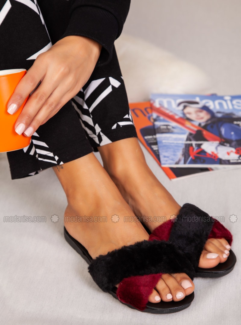 Sandal - Maroon - Black - Home Shoes