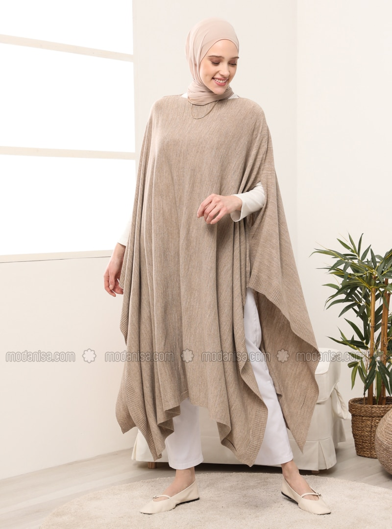 Mink - Crew neck - Unlined - Poncho