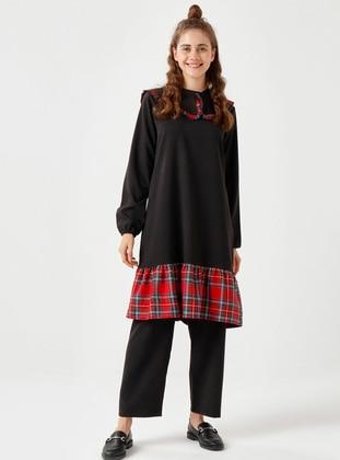 Red - Black - Plaid - Unlined - Suit