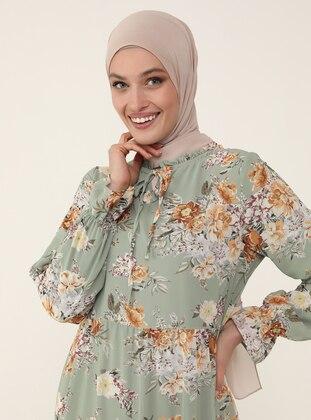 Tie-on Collar Chiffon Relax Fit Dress - Green Floral Print - Refka Woman