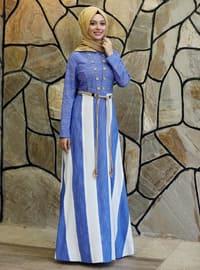 Blue - Stripe - Crew neck - Fully Lined - Dress