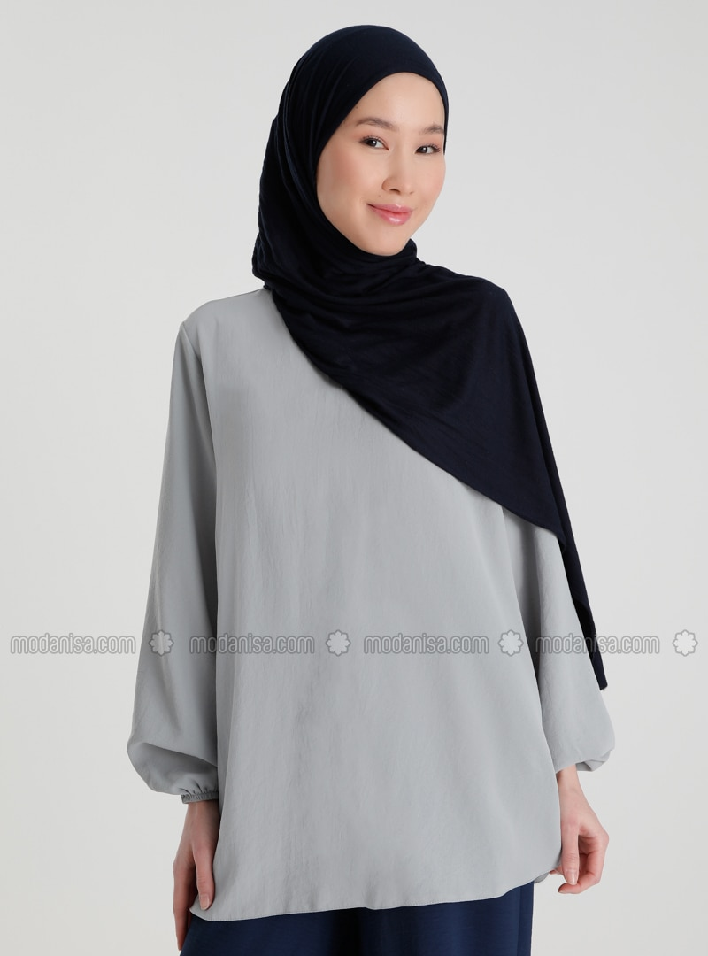 Gray - Blue - Crew neck - Blouses - Casual