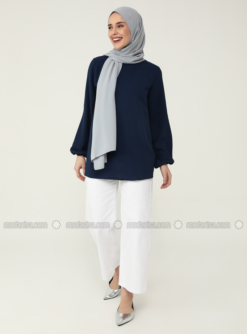 Navy Blue - Crew neck - Blouses - Casual