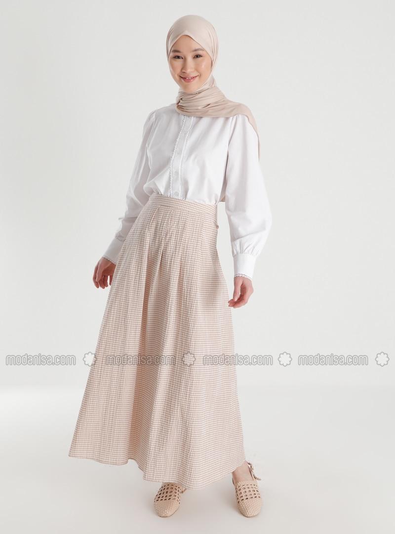 Camel - Plaid - Unlined - Skirt
