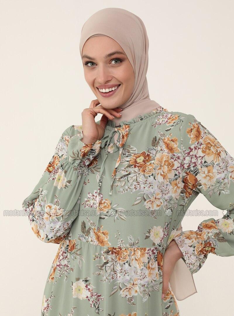 Tie-on Collar Chiffon Relax Fit Dress - Green Floral Print - Woman