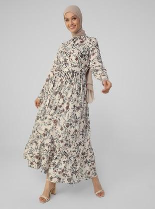 Beige - Floral - Point Collar - Unlined - Modest Dress