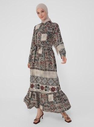 Beige - Multi - Point Collar - Unlined - Viscose - Modest Dress
