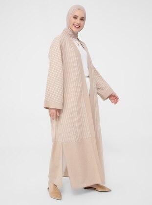 Beige - Stripe - Unlined - Topcoat
