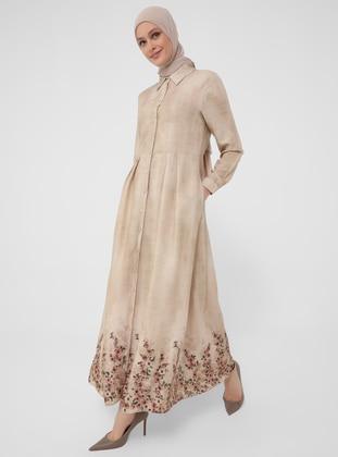 Natural Fabric Floral Print Shirt Dress - Beige - Woman
