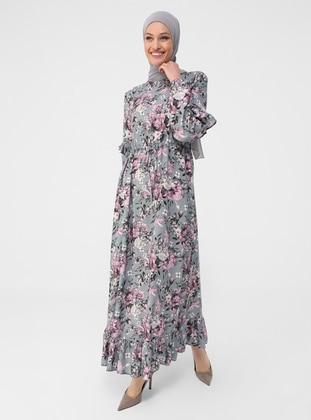 Gray - Pink - Floral - Crew neck - Unlined - Modest Dress