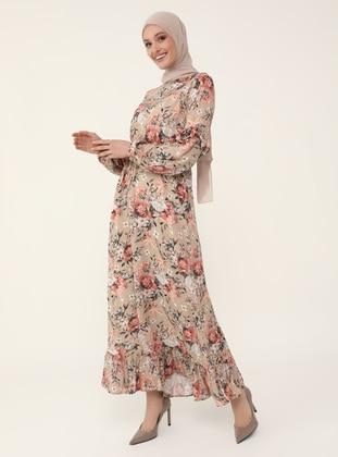 Natural Fabric Ruffle Detailed Dress - Powder - Refka Woman