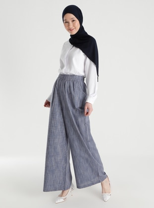 Linen Look Casual Trousers - Navy Blue - Casual