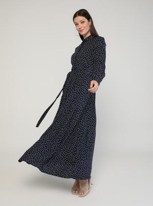 Navy Blue - Polka Dot - Point Collar - Unlined - Modest Dress