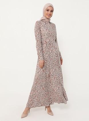 Natural Fabric Belted Shirt Dress - Powder Saffron - Woman
