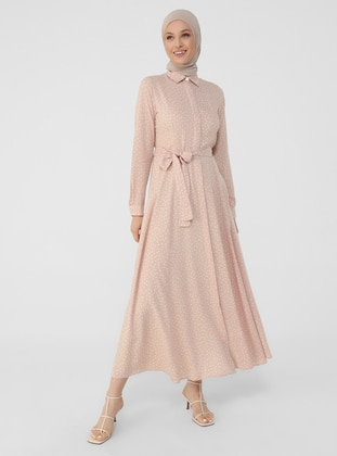 Salmon - Polka Dot - Point Collar - Unlined - Modest Dress