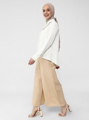 Elastic Waist Cotton Oxford Bag Trousers - Beige - Casual