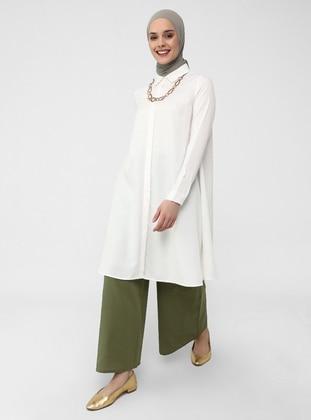 Elastic Waist Cotton Oxford Bag Trousers - Khaki - Casual