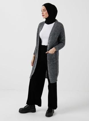 Gray - Gray - Silvery - Unlined - Gray - Silvery - Unlined - Knit Cardigans