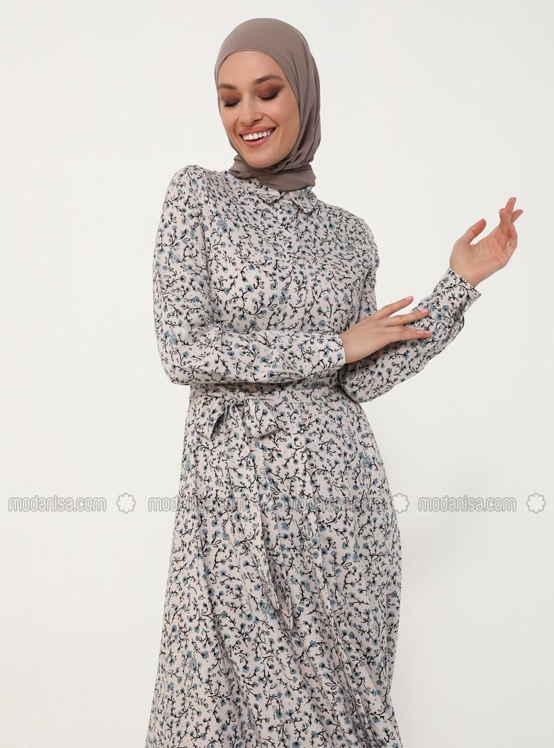 Natural Fabric Belted Shirt Dress - Powder Blue - Woman