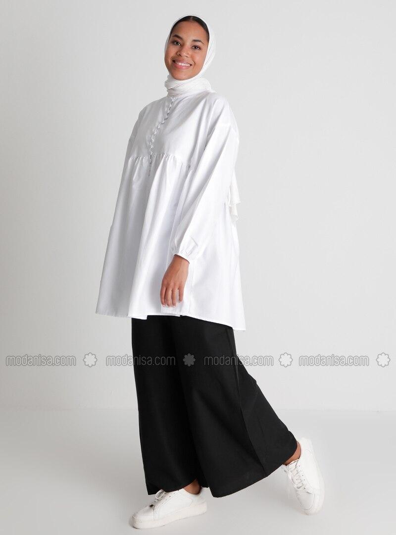 Elastic Waist Cotton Oxford Bag Trousers - Black - Casual