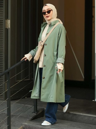 Green - Fully Lined - Point Collar - Trench Coat