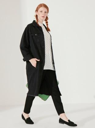 Black - Black - Unlined - Point Collar - Denim - Cotton - Black - Unlined - Point Collar - Denim - Cotton - Jacket