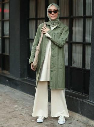 Green - Green - Unlined - Point Collar - Denim - Cotton - Green - Unlined - Point Collar - Denim - Cotton - Jacket
